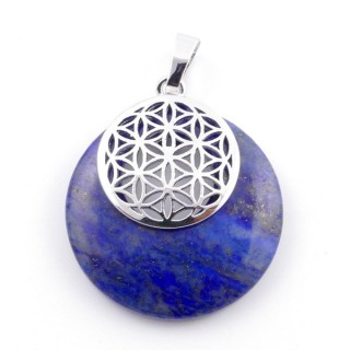38514-13 LAPIS LAZULI STONE 28 MM AND FLOWER OF LIFE PENDANT