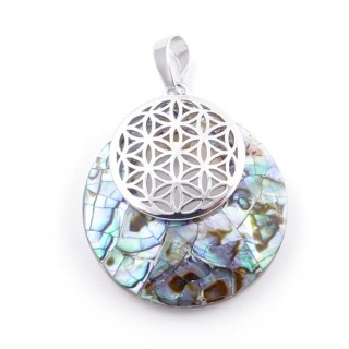 38514-64 MOTHER OF PEARL STONE 28 MM AND FLOWER OF LIFE PENDANT