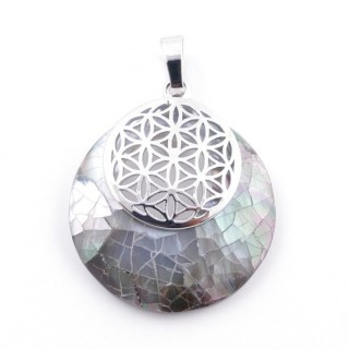 38514-65 MOTHER OF PEARL STONE 28 MM AND FLOWER OF LIFE PENDANT