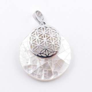 38514-66 MOTHER OF PEARL STONE 28 MM AND FLOWER OF LIFE PENDANT