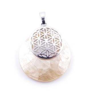 38514-67 MOTHER OF PEARL STONE 28 MM AND FLOWER OF LIFE PENDANT