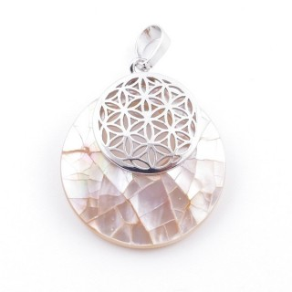 38514-68 MOTHER OF PEARL STONE 28 MM AND FLOWER OF LIFE PENDANT