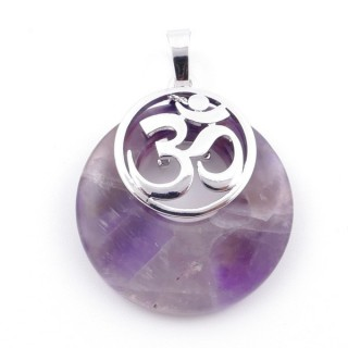 38515-05 AMETHYST STONE 28 MM AND OM PENDANT