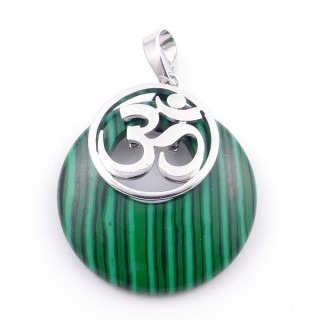 38515-06 MALACHITE STONE 28 MM AND OM PENDANT