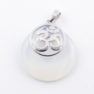 38515-08 OPALINE STONE 28 MM AND OM PENDANT