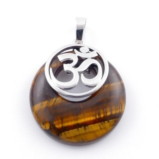 38515-09 TIGER'S EYE STONE 28 MM AND OM PENDANT