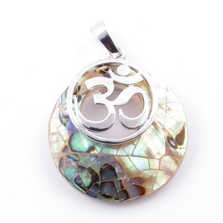 38515-64 MOTHER OF PEARL STONE 28 MM AND OM PENDANT