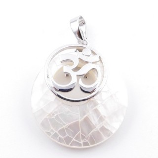 38515-66 MOTHER OF PEARL STONE 28 MM AND OM PENDANT