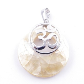 38515-67 MOTHER OF PEARL STONE 28 MM AND OM PENDANT