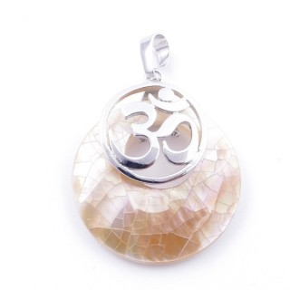 38515-68 MOTHER OF PEARL STONE 28 MM AND OM PENDANT