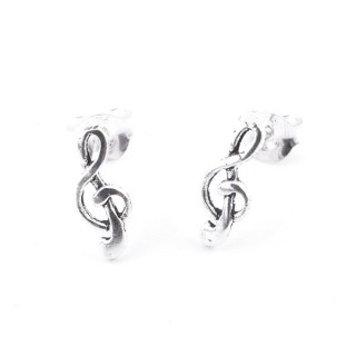 55324 TREBLE CLEF SHAPED STERLING SILVER 10 X 4 MM POST EARRINGS