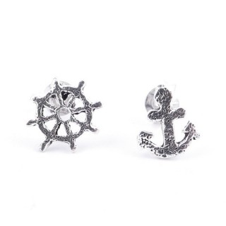 55358 WHEEL AND ANCHOR STERLING SILVER 8 MM EARRINGS