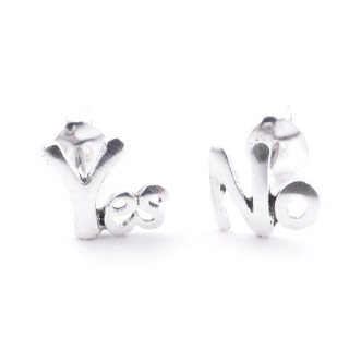 55337 SILVER 925 YES & NO SHAPED 7 MM POST EARRINGS