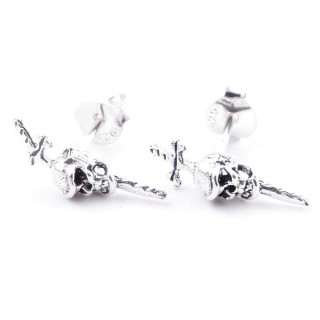 55352 SILVER 925 SWORD WITH SKULL SHAPED 14 X 4 MM POST EARRINGS