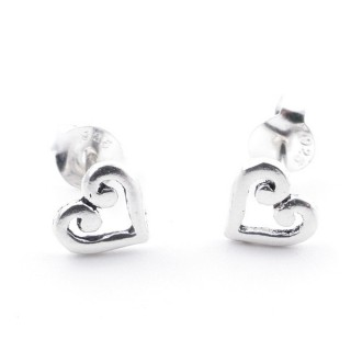 55333 SILVER 925 HEART SHAPED 6 MM POST EARRINGS