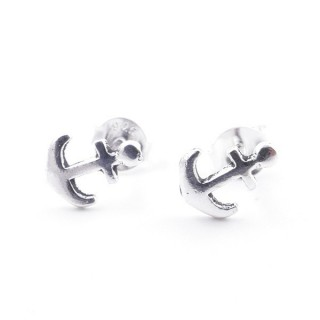 55338 SILVER 925 ANCHOR SHAPED 8 X 6 MM POST EARRINGS