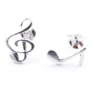 55362 SILVER 925 MUSICAL NOTES SHAPED 12 MM POST EARRINGS