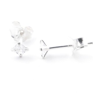 51221 STERLING SILVER POST EARRINGS WITH SQUARE 3 MM CRYSTAL