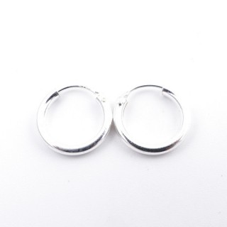 52074 PLAIN STERLING SILVER 2 X 12 MM HOOP EARRINGS