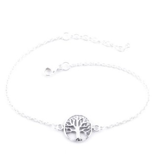55425 STERLING SILVER BRACELET WITH 11 MM TREE OF LIFE CHARM