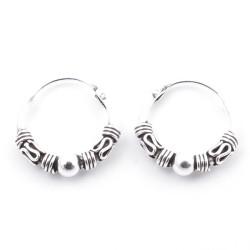 55402 STERLING SILVER BALI DESIGN 12 MM LOOP EARRINGS
