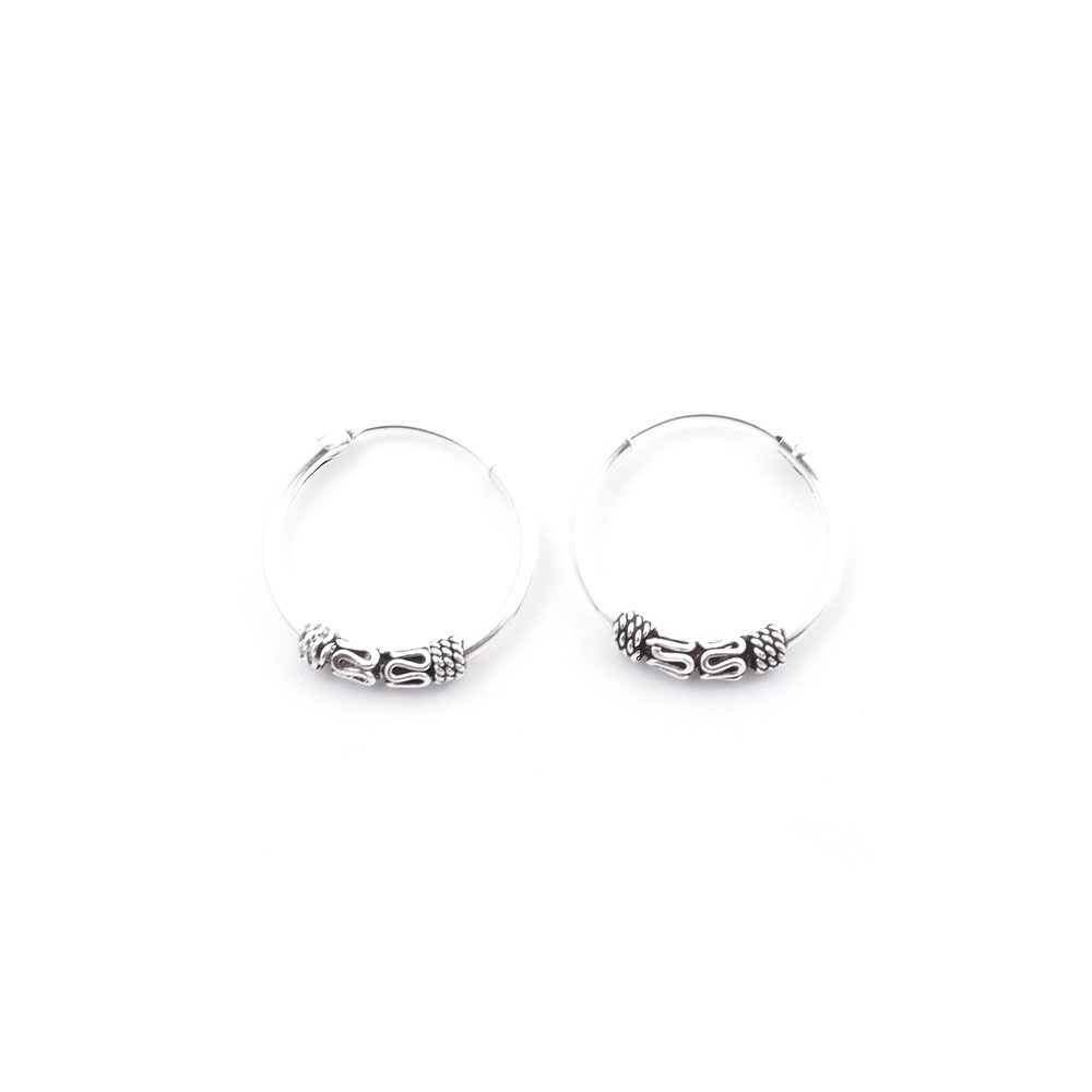 55406 STERLING SILVER BALI DESIGN 16 MM LOOP EARRINGS