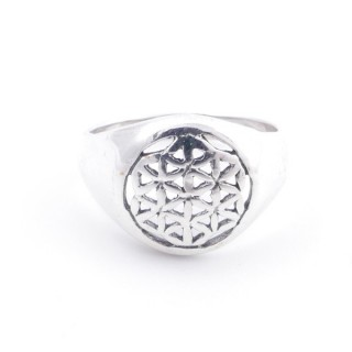 50217-17 STERLING SILVER FLOWER OF LIFE 12 MM RING SIZE 17
