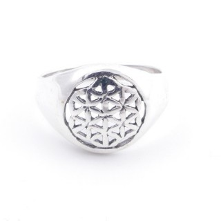 50217-18 STERLING SILVER FLOWER OF LIFE 12 MM RING SIZE 18