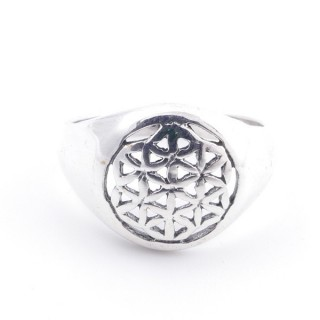 50217-19 STERLING SILVER FLOWER OF LIFE 12 MM RING SIZE 19