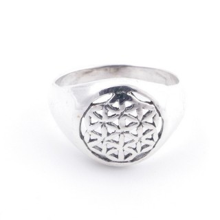 50217-20 STERLING SILVER FLOWER OF LIFE 12 MM RING SIZE 20