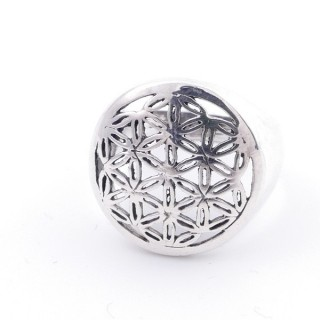 50218-16 STERLING SILVER FLOWER OF LIFE 17 MM RING SIZE 16