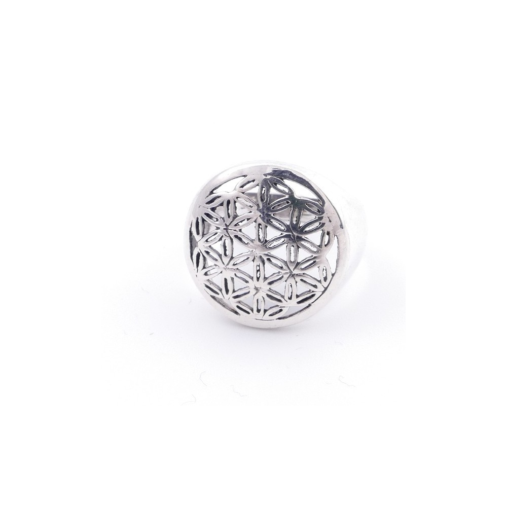 50218-17 STERLING SILVER FLOWER OF LIFE 17 MM RING SIZE 17