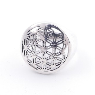50218-18 STERLING SILVER FLOWER OF LIFE 17 MM RING SIZE 18