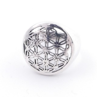 50218-19 STERLING SILVER FLOWER OF LIFE 17 MM RING SIZE 19