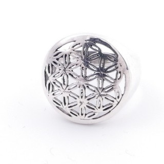 50218-20 STERLING SILVER FLOWER OF LIFE 17 MM RING SIZE 20
