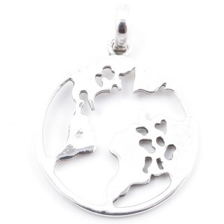 58411 STERLING SILVER ROUND 32 MM WORLD MAP PENDANT