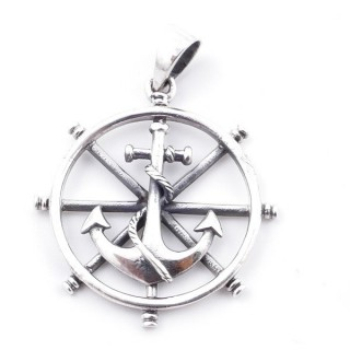 50211 STERLING SILVER SHIP'S WHEEL AND ANCHOR 31 MM PENDANT