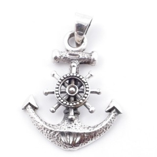 50204 STERLING SILVER SHIP'S WHEEL AND ANCHOR 32 X 26 MM PENDANT