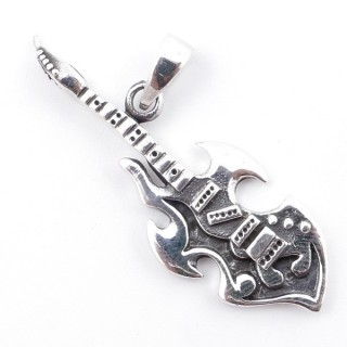50212 GUITTAR SHAPED 46 X 16 MM STERILNG SILVER PENDANT