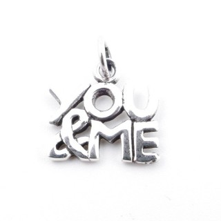 55308 STERLING SILVER YOU & ME PENDANT 12 X 12 MM