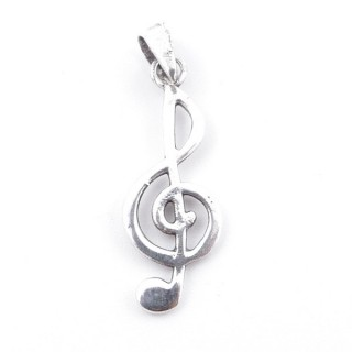 55382 STERLING SILVER TREBLE CLEF 24 X 9 MM PENDANT