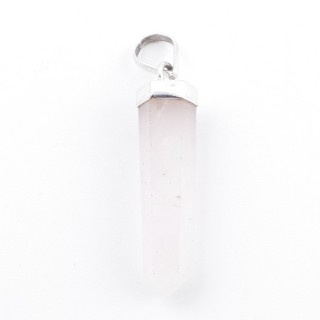 38904-02 ROSE QUARTZ MINERAL POINTER 8 X 40 MM WITH SILVER SETTING