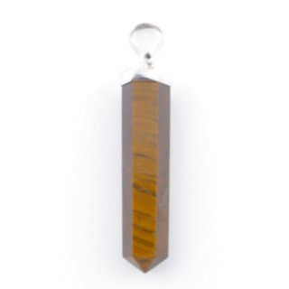 38904-09 TIGER'S EYE MINERAL POINTER 8 X 40 MM WITH SILVER SETTING