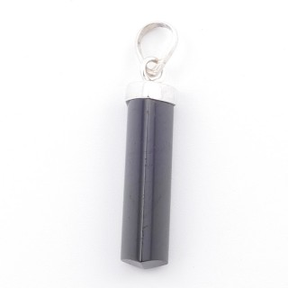 38904-62 BLACK TOURMALINE MINERAL POINTER 8 X 40 MM WITH SILVER SETTING