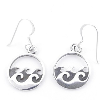 55299 STERLING SILVER FISH HOOK 14 MM EARRINGS WITH WAVE DESIGN