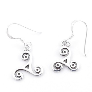 55304 STERLING SILVER FISH HOOK 13 MM EARRINGS WITH TRISQUEL SYMBOL