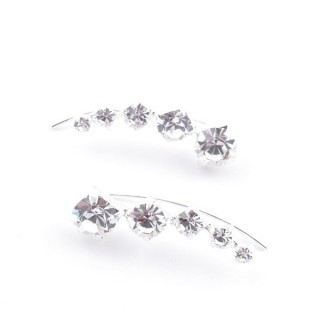 52142-31 STERLING SILVER AND GLASS STONE CLIMBER EARRINGS 19 X 7 MM