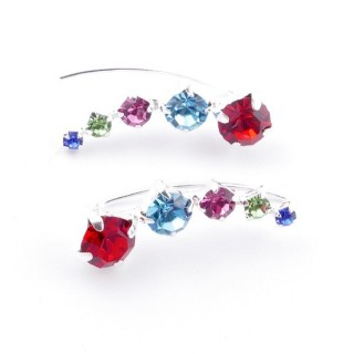 52142-32 STERLING SILVER AND GLASS STONE CLIMBER EARRINGS 19 X 7 MM
