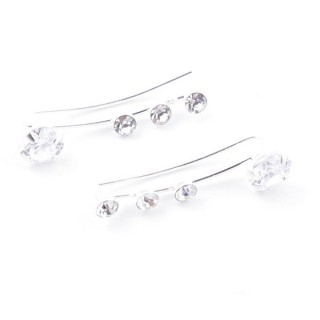 52066 STERLING SILVER AND GLASS STONE CLIMBER EARRINGS 21 X 5 MM