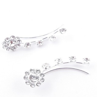 52068 STERLING SILVER AND GLASS STONE CLIMBER EARRINGS 23 X 7 MM